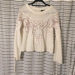 For Love and Lemons cream/nude lace blouse. SZ M
